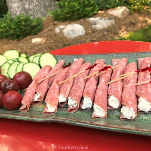salami and cream cheese appetizer to pin