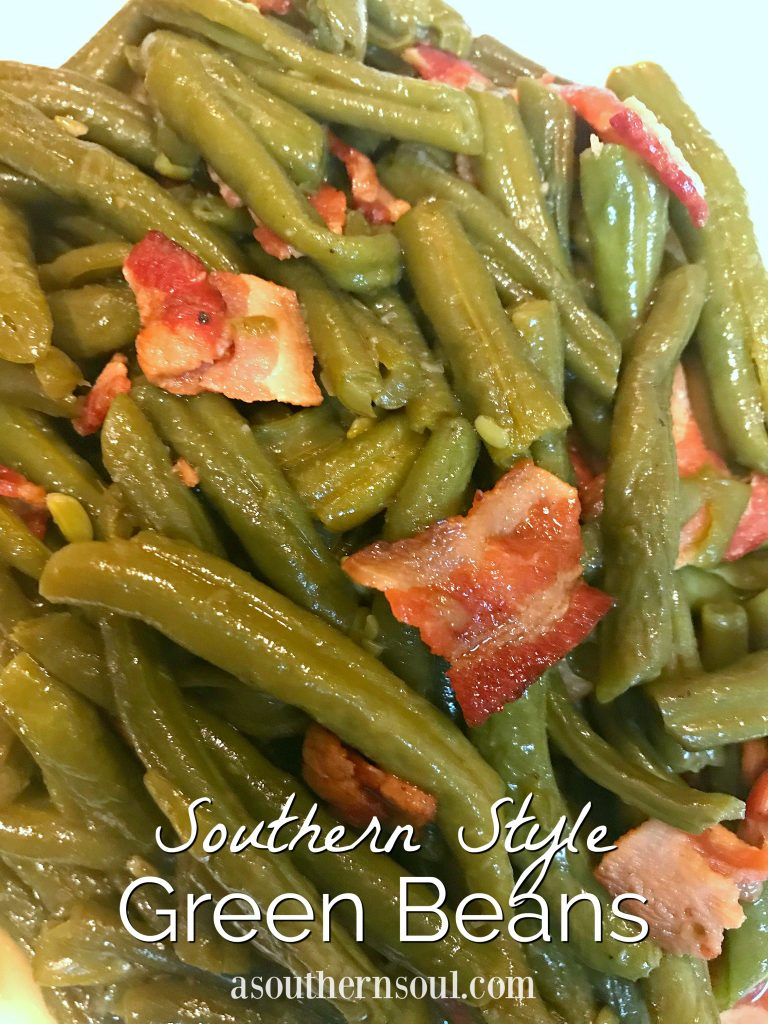Southern Style Green Beans cooked with bacon with simple seasoning are a classic side dish for any time of the year.