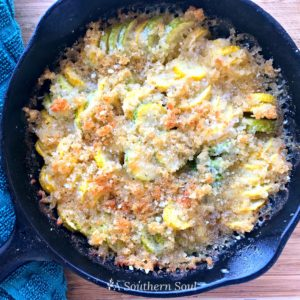 squash casserole in cast iron skillet