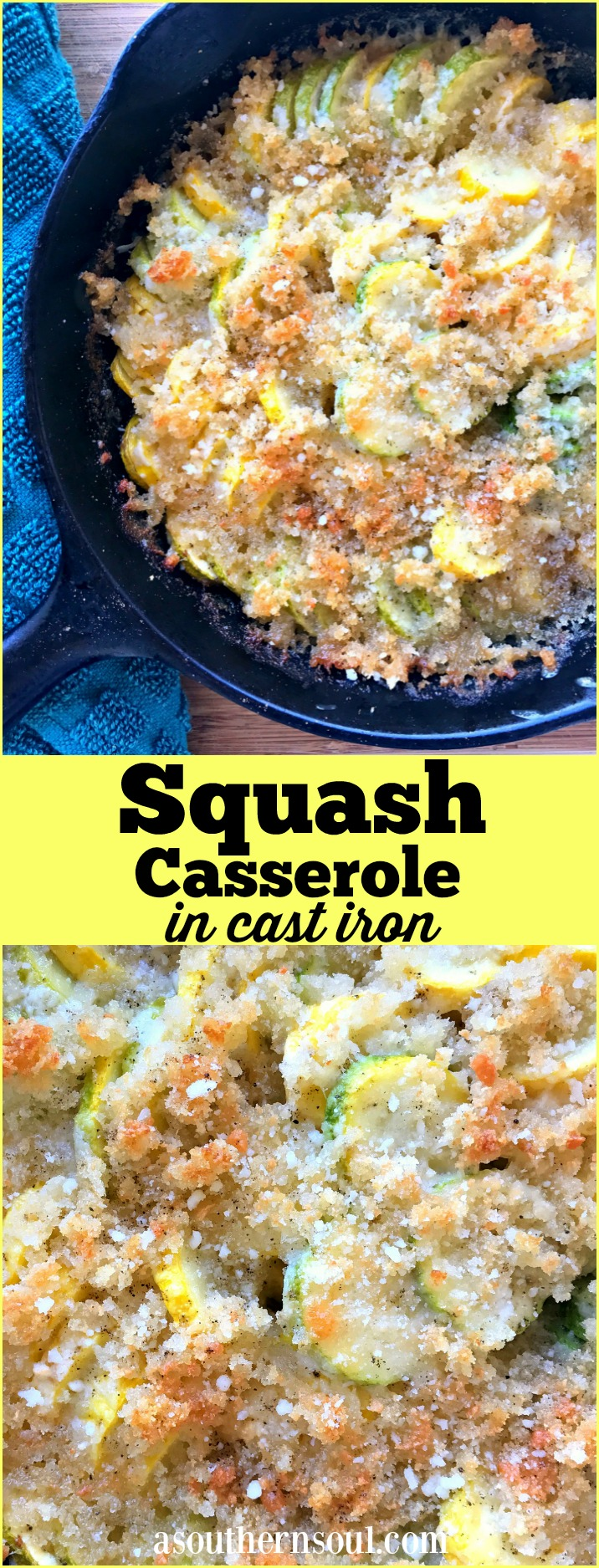 Yellow squash cooked in a cast iron skillet is a new take on a southern favorite dish. Lightened up a bit with all the flavors you love. Topped with a cheesy, buttery crust for a simple, delicious side dish.