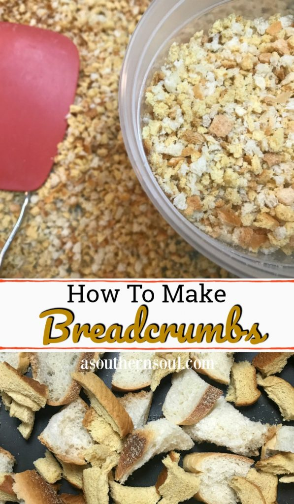 Making homemade breadcrumbs is easy. Just save all your bread, pulse in your food processor and toast em up!