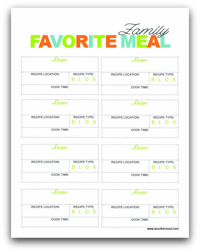 family favorite meals printable