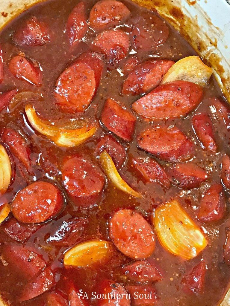 keilbasa & onions in BBQ sauce