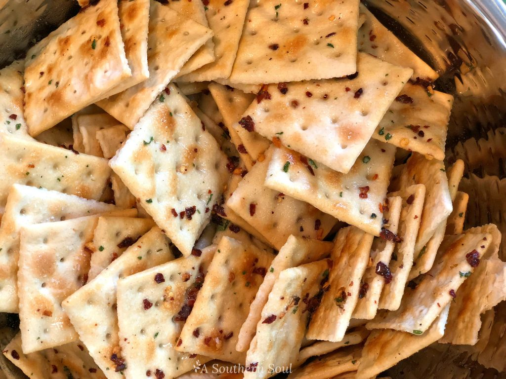 saltines with ranch, red pepper in canola an no bake