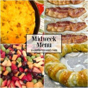 midweek menu, menu, breakfast for dinner, eggs, bacon, fruit salad, meal planning, danish