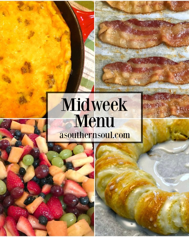 midweek menu, menu, breakfast for dinner, eggs, bacon, fruit salad, meal planning, danish