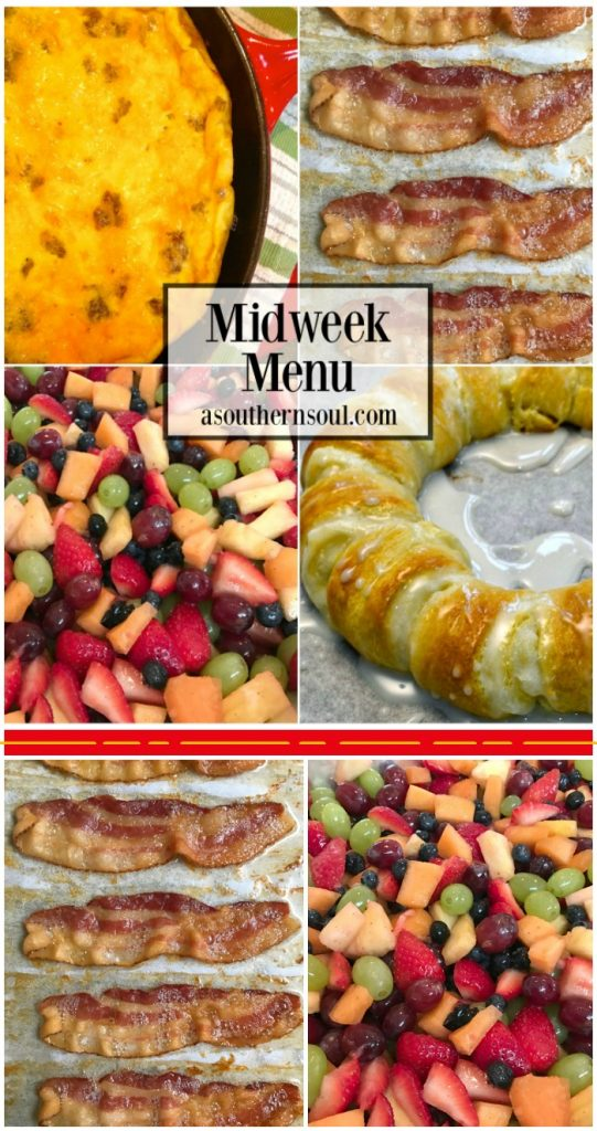 midweek menu, breakfast for dinner, eggs, bacon, sausage, fruit salad, cream cheese danish, recipe, meal planning