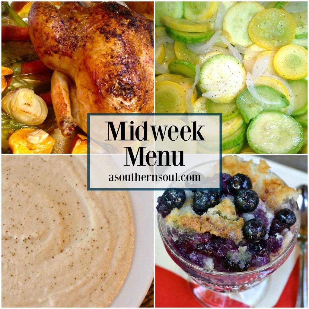 midweek menu, meal plan, meal planning, meal prep, chicken, stirfry, blueberries, cobbler, cauliflower