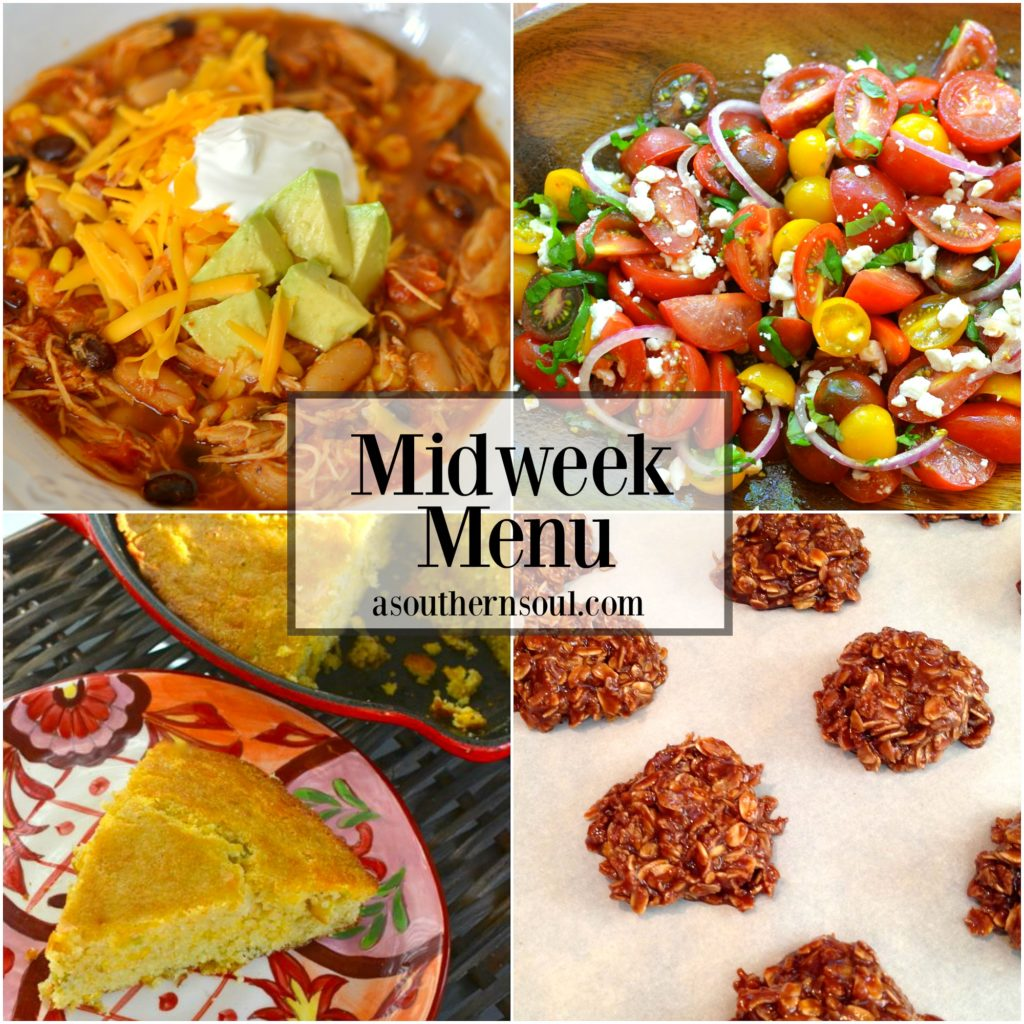 midweek menu, taco soup, slow cooker, crock pot, tomato salad, cornbread, chocolate cookies