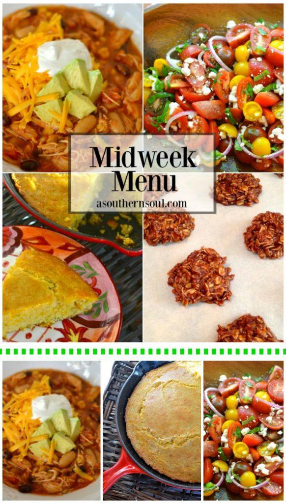 midweek menu, taco soup, cornbread, chocolate cookies, tomato salad, slow cooker, crock pot, recipe, recipes