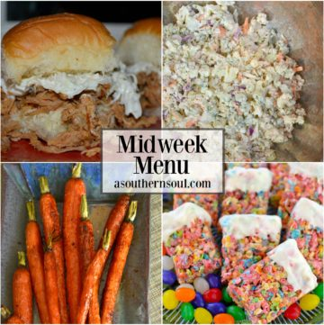 midweek menu #11 with pulled pork sliders, blue cheese cole slaw, glazed carrots and fruity krispy treats in white chocolate