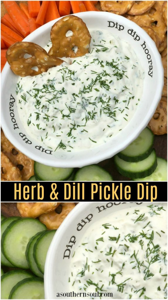 fresh herbs and dill pickle dip with veggies and crackers