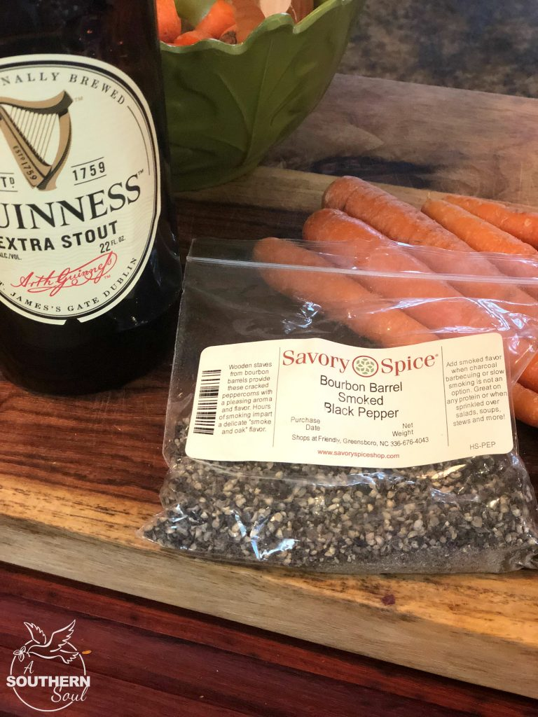 guinness stout, smoked black pepper, salt, garlic, carrots and onion for Irish pot roast