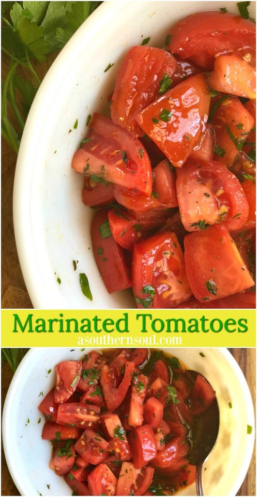 easy marinated tomatoes in homemade dressing with herbs