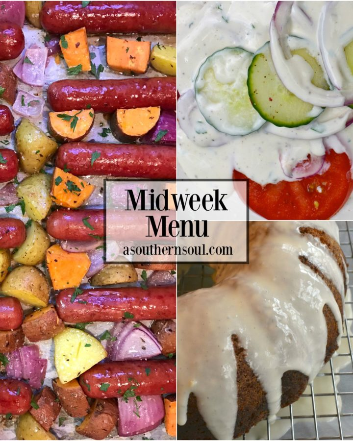 Midweek Menu #14 with sheetpan brats and potatoes with homemade carrot cake are easy recipes for suppertime.