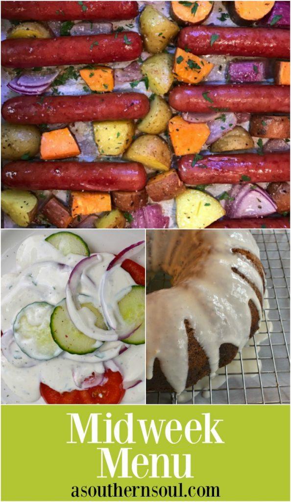 Midweek Menu with sheetpan brats, ranch dressing salad and carrot cake