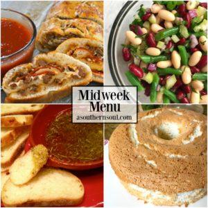 midweek menu with sausage and pepperoni stromboli