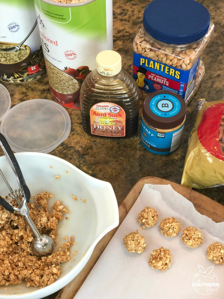 no-bake energy balls that are sweet and salty with oatmeal