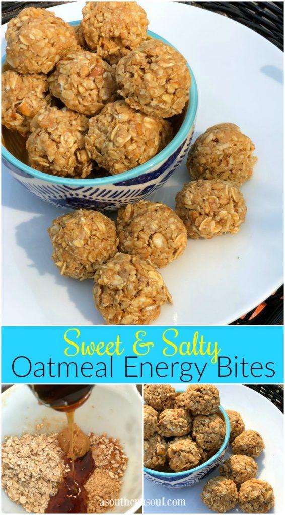 salty and sweet no bake oatmeal energy bites
