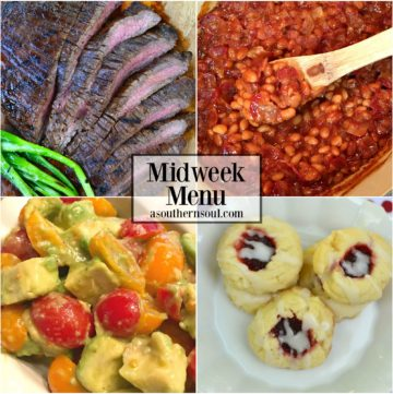 midweek menu with grilled flank steak, salad, baked beans and cookies from a southern soul