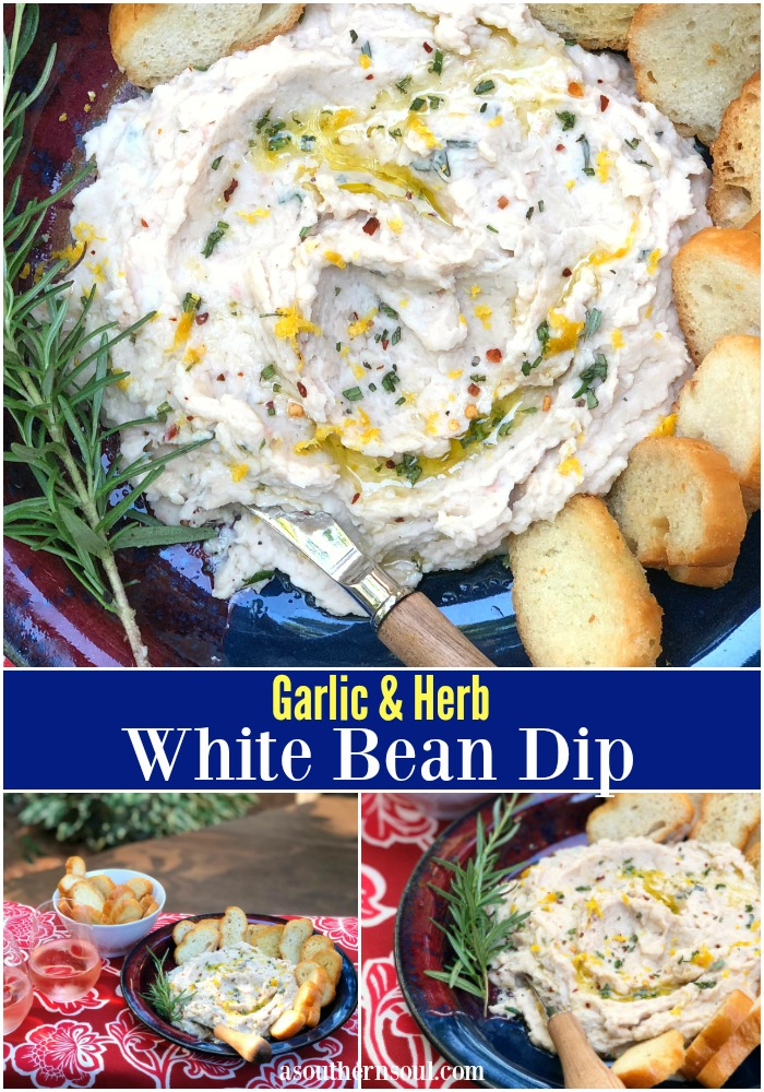 herb and garlic white bean dip