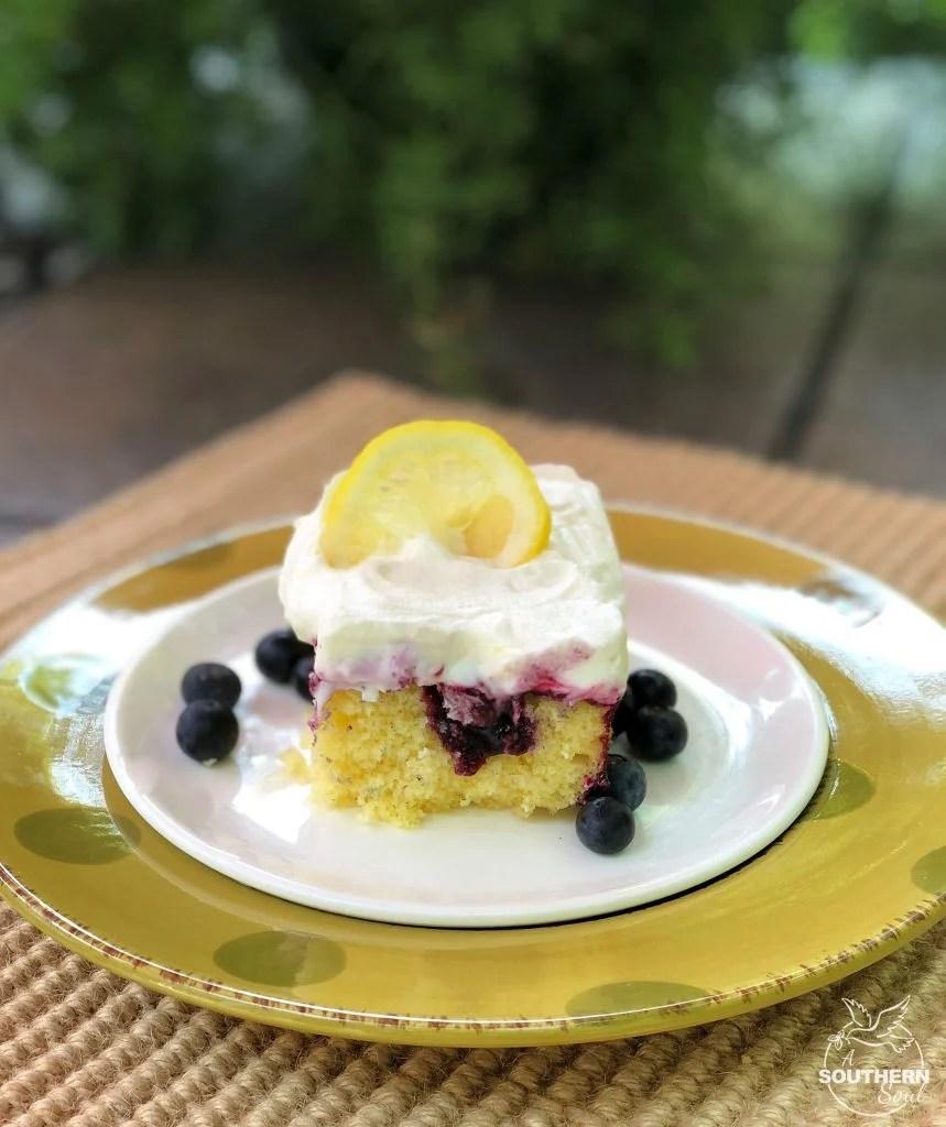 Blueberry Lemon Poke Cake from A Southern Soul