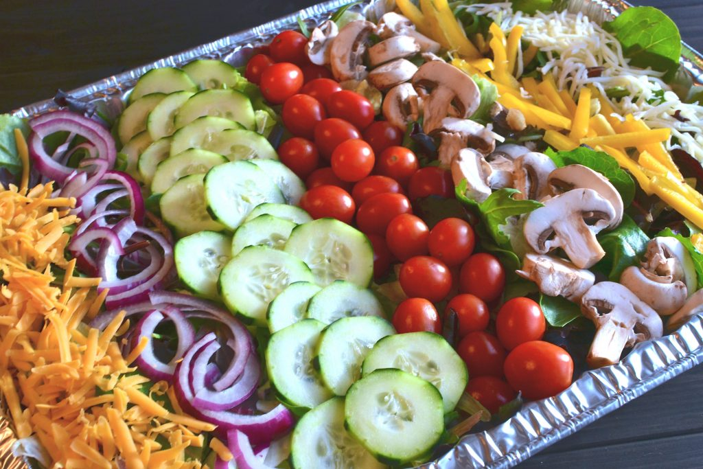 salad for a crowd with homemade vinaigrette
