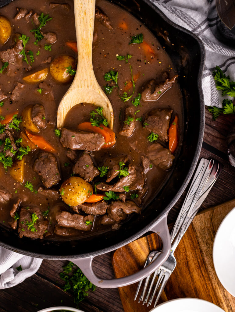 Skillet Beef Stew in a gray cast iron skillet