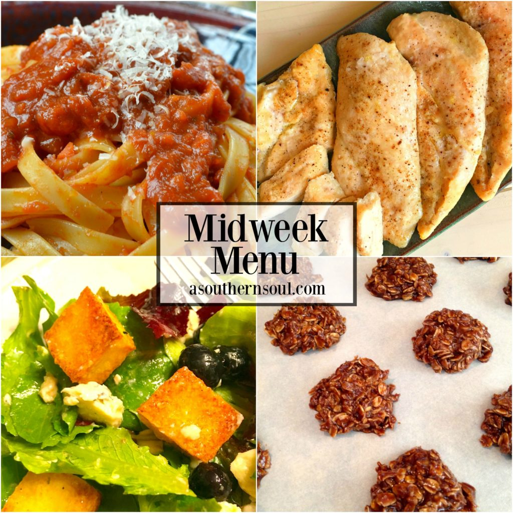 Midweek Menu #22 showcases roasted chicken with an easy tomato sauce and pasta, fresh green salad with homemade dressing and super easy chocolate no-bake cookies!