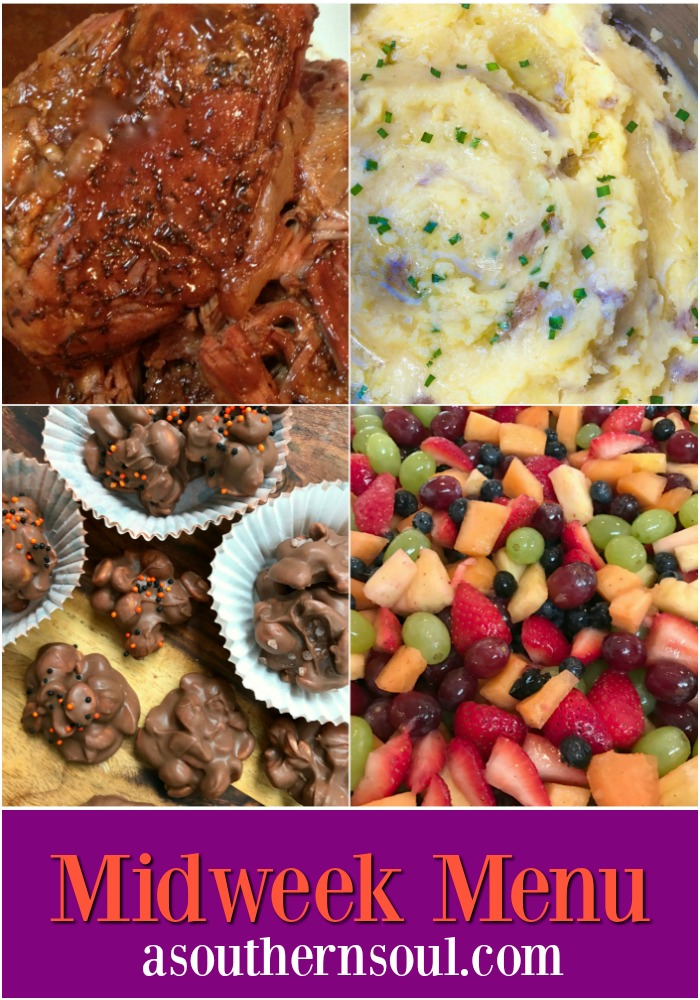 A slow cooked, crazy good pork roast, Instant Pot mashed potatoes, fruit salad that's become famous and crock pot candy is what's on the menu this week! Who's hungry?