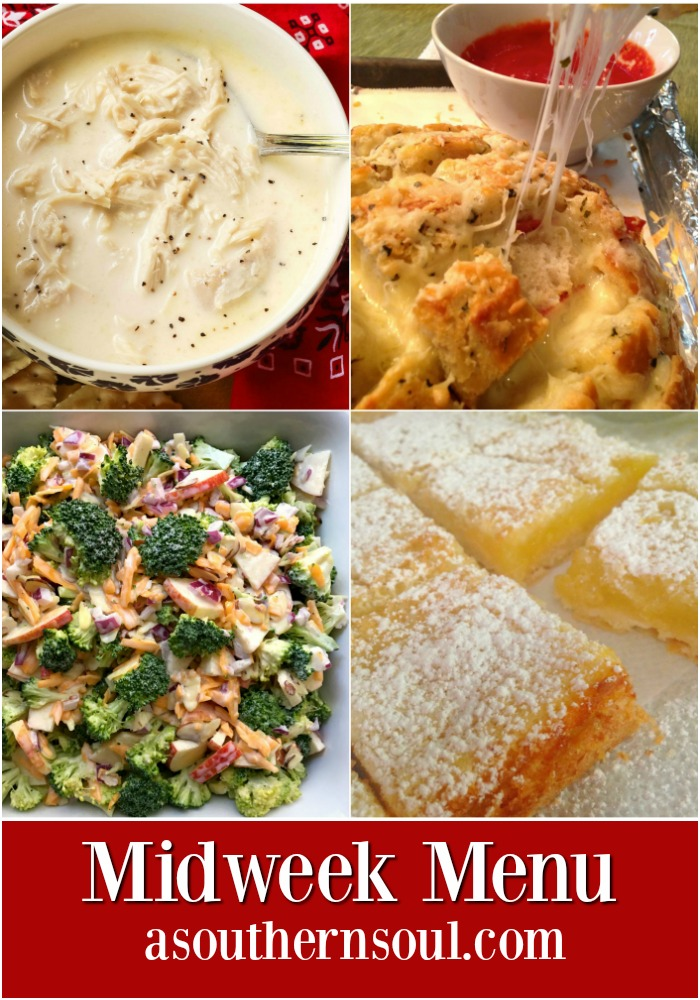 Easy to make, creamy chicken stew, ooey gooey cheesy bread, a fresh, fall salad and bright, lemon bars come together to make a menu that your family will ask for over and over again!