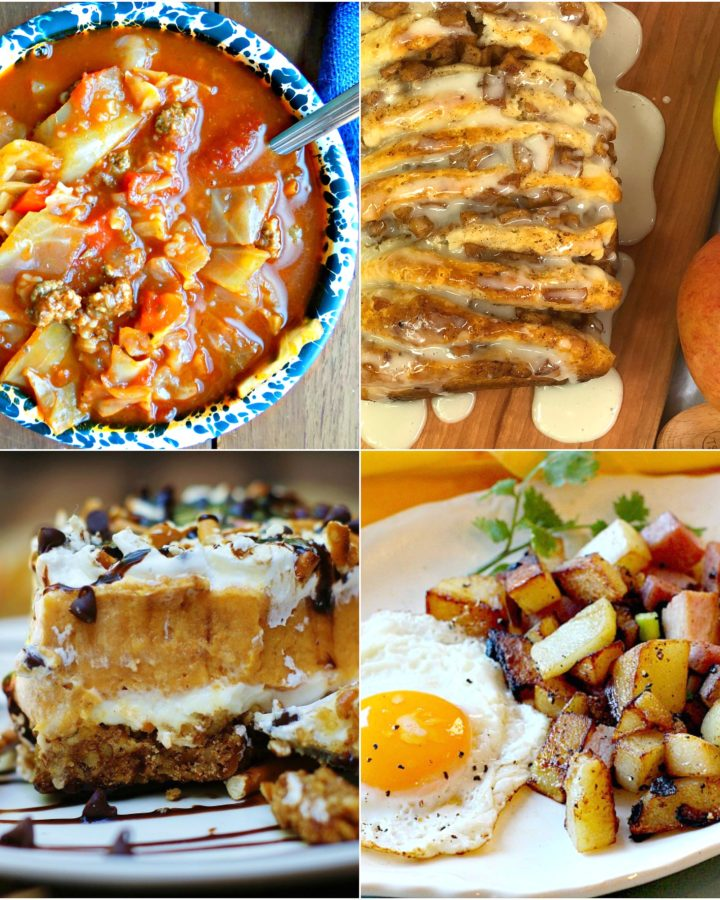 Meal Plan Monday #134 features stuffed cabbage soup, home fried potatoes, pumpkin lush and apple cinnamon pull apart bread. Link up your recipes this week!