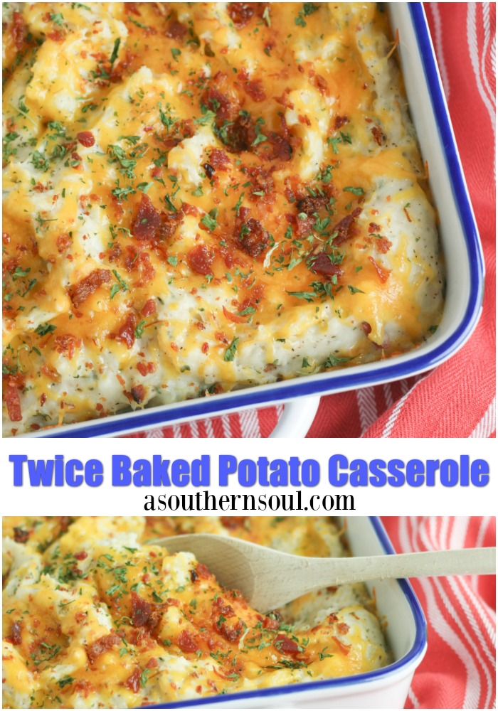 Twice baked potato casserole is a family favorite recipe. Loaded with bacon and cheese, it's a great side dish for the holidays or a week night meal.