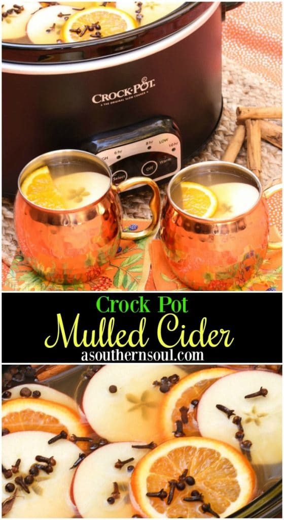 Crock Pot Mulled Cider with brown sugar, cinnamon, cloves, apples and oranges should be named the official drink of fall!