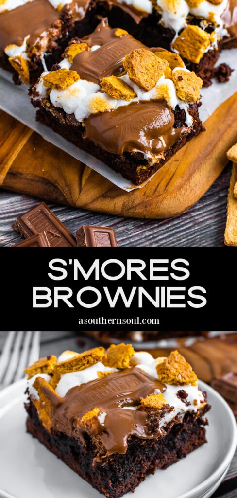 Smores Brownies with 2 images for Pinterest.