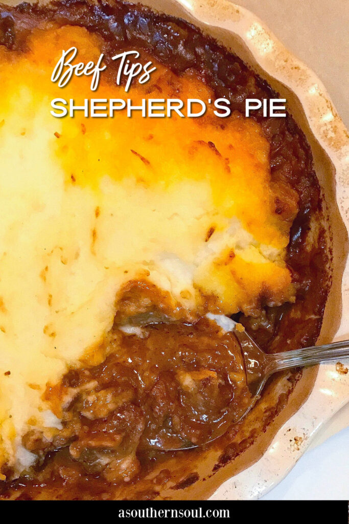 Shepherd's Pie made with beef tips in gravey topped with leftover mashed potatoes.