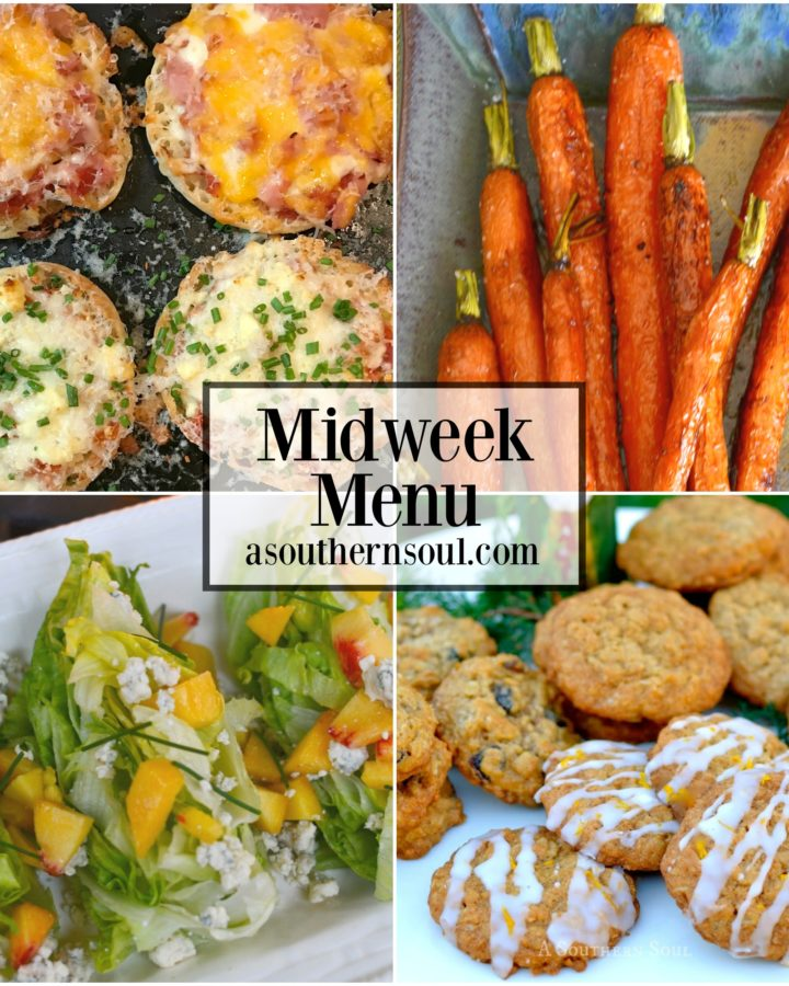 Four family favorite recipes are on the menu this week. Personalized english muffin pizzas, roasted carrots, a fresh salad and oatmeal cookies are easy to make dishes perfect for a busy week night.