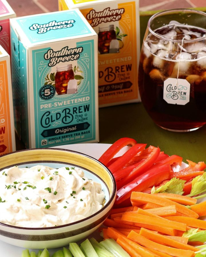 Southern Breeze Cold Brew tea along with homemade dip and fresh veggies are perfect together for healthy snacking.