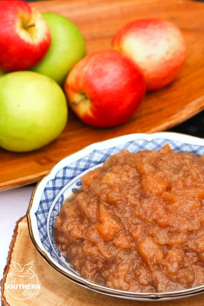 Applesauce make in the Crock Pot has just the right amount of sweetness with warm flavors of cinnamon & nutmeg. One you make homemade, the store bought stuff just won't do!