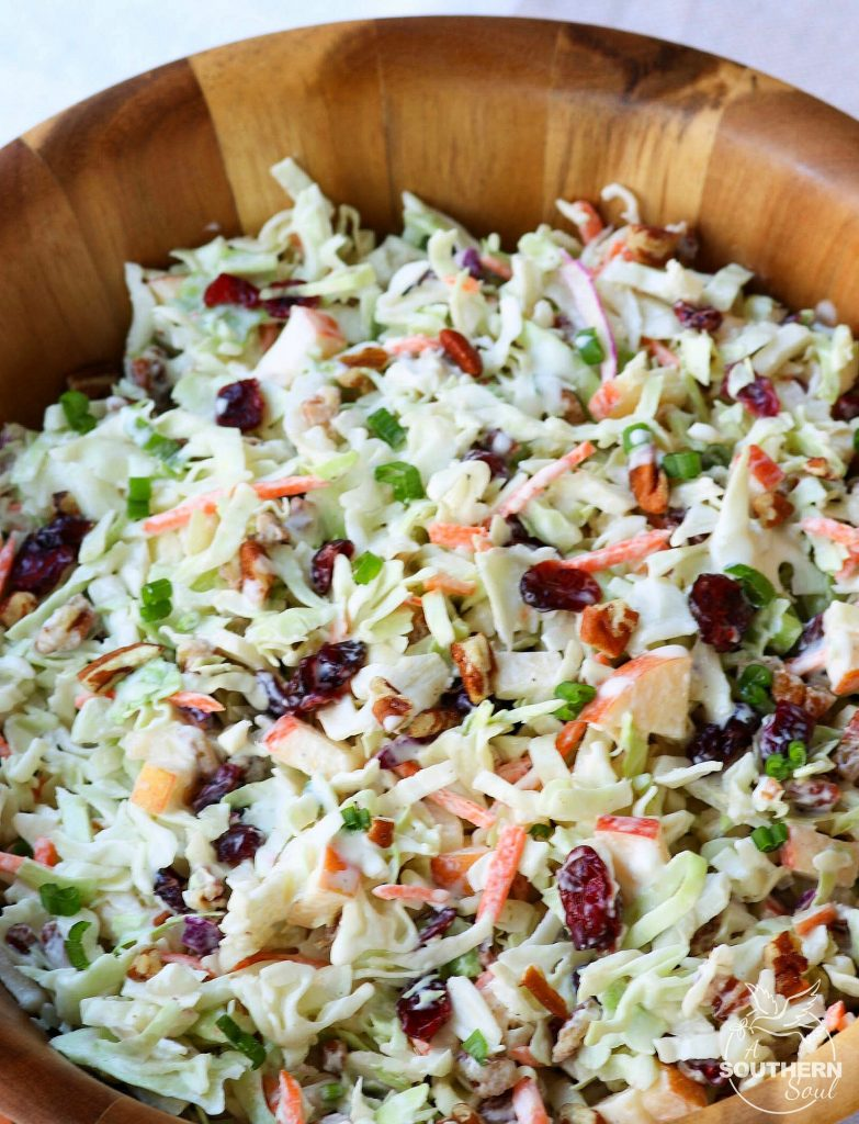Take your coleslaw to a whole new level with sweet, tangy cranberries and crunchy pecans. Mix in an apple and some savory green onions then toss it all in a creamy dressing for a dish that's an amazing side for any gathering!