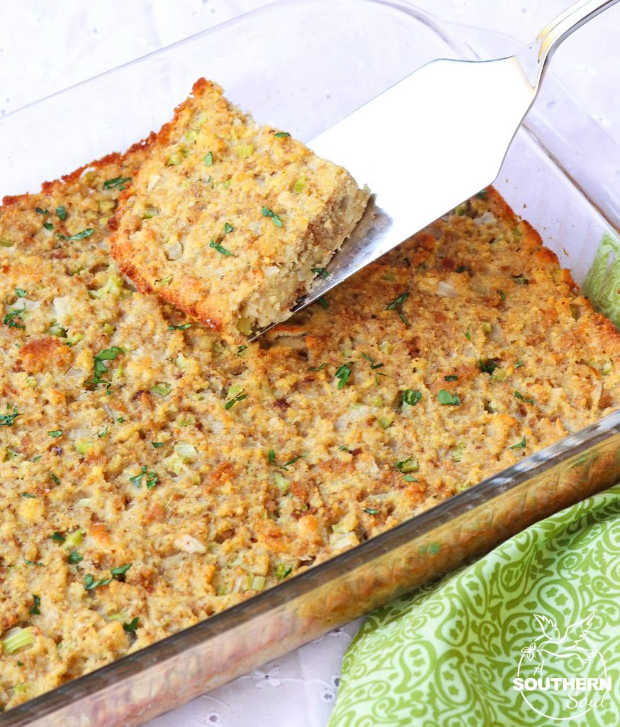 Southern Cornbread Dressing with celery, onions and just the right amount of seasoning is a tradition during the holidays that can't be missed.