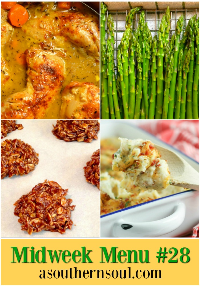 Braised chicken thighs with a surprising flavors, roasted asparagus, twice baked potato casserole and no bake chocolate cookies come together for an elegant meal that easy enough to make during for a weeknight meal!