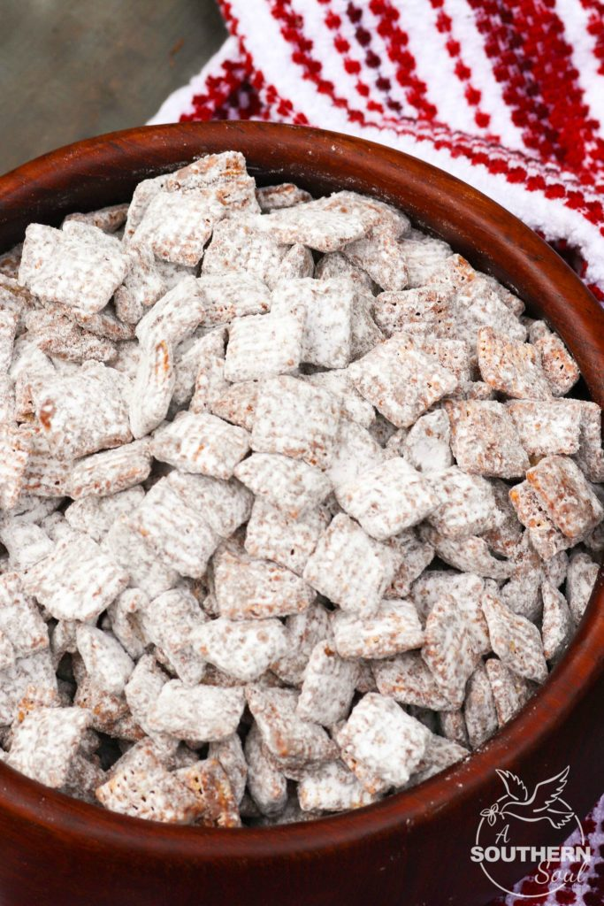 "Classic Muddy Buddies are a ""must make"" during the holidays. Also know as Puppy Chow, this sweet crunchy treat is a treat loved by kids of all ages!"