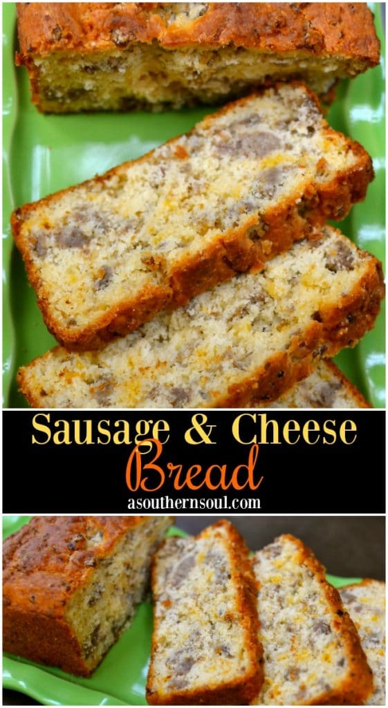Sausage and cheese bread make with a baking mix, mild sausage and cheddar cheese is easy to make. Delicious for breakfast, brunch or an afternoon snack!