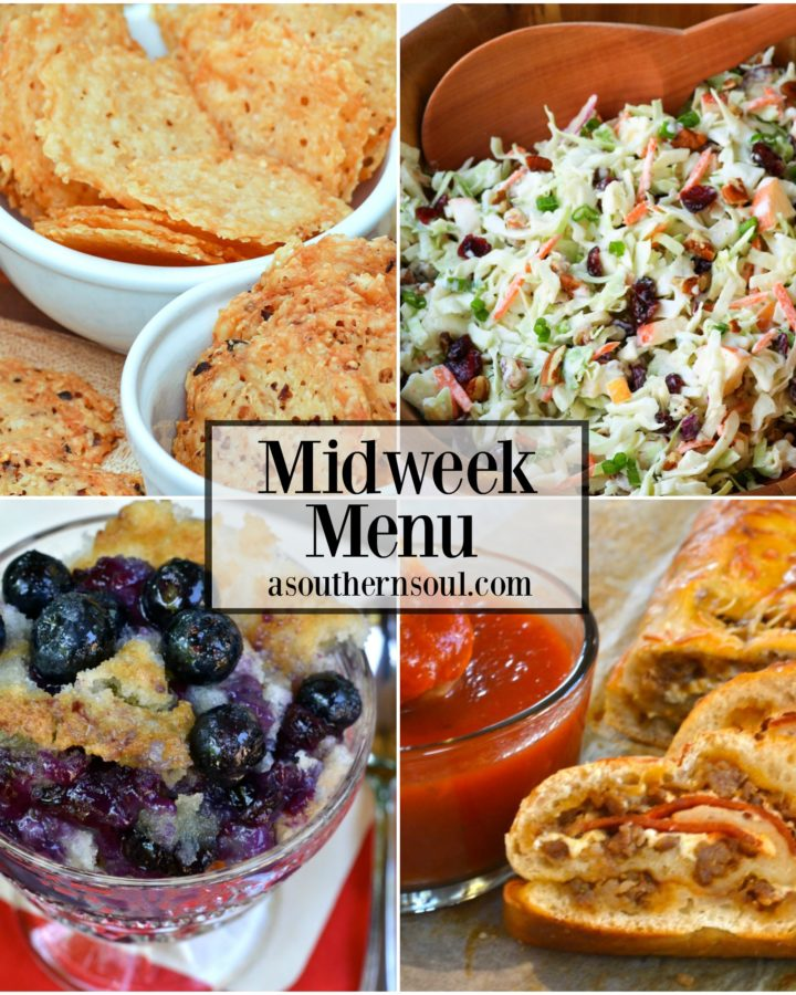 Sausage & pepperoni Stromboli, Cranberry Pecan Slaw, Parmesan Cheese Crisps and Blueberry Cobbler are four great recipes on the menu!