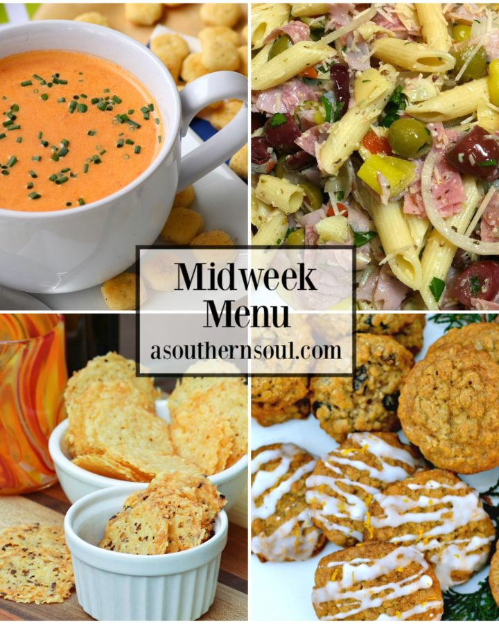 Midweek Menu #34 with tomato soup, Italian Pasta Salad, Parmesan Crisps and Oatmeal Cookies. Four easy to make recipes to help get supper on the table!