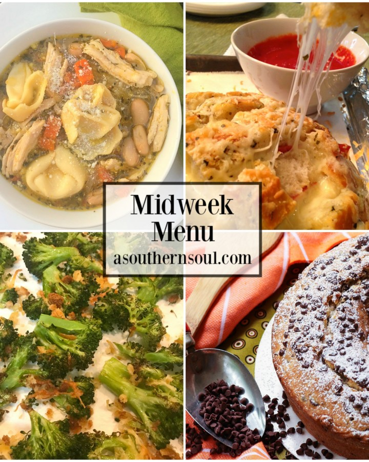 Warm soup with beans and pasta, pull apart bread that loaded with more cheese, roasted broccoli and chocolate chip pound cake are the stars of this week's menu!