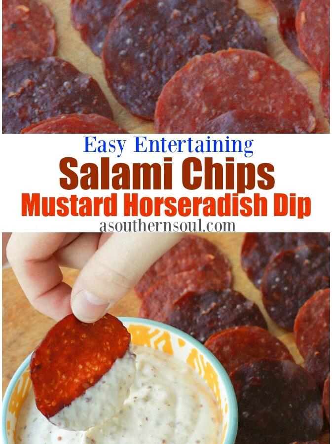 Baked salami chips with creamy mustard horseradish dip.