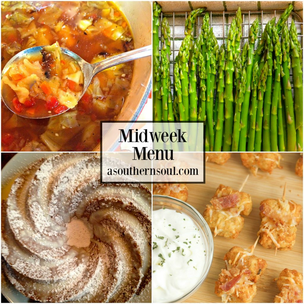 Midweek Menu with four easy recipes that include roasted cabbage soup, roasted asparagus, loaded tater tots, and spice cake.