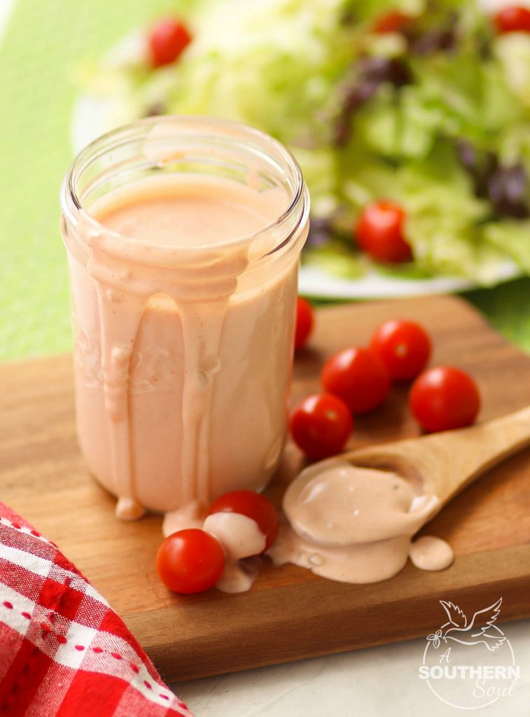 Classic 1000 Island Dressing made with mayonnaise, ketchup, relish and onion is a great topping for salads and is also a yummy dip!
